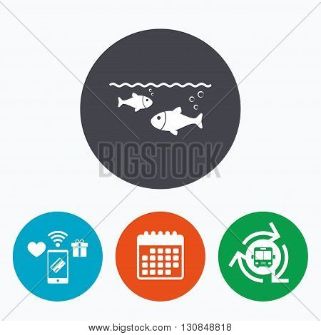 Fish in water sign icon. Fishing symbol. Mobile payments, calendar and wifi icons. Bus shuttle.