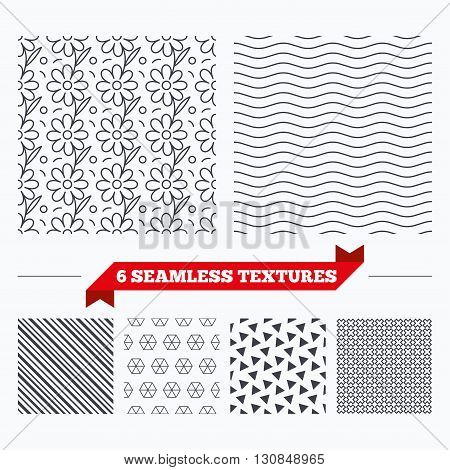 Diagonal lines, waves and geometry design. Flower floral texture. Stripped geometric seamless pattern. Modern repeating stylish texture. Material patterns.
