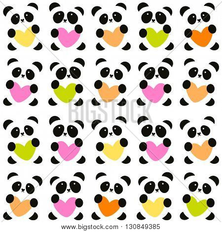 Pattern of pandas with the heart.