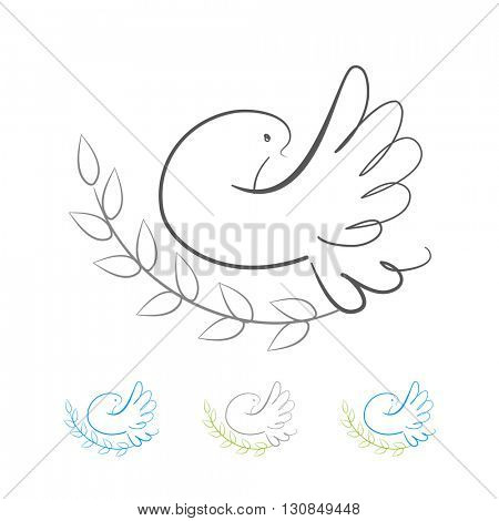 Dove logo - design template. White dove - peace symbol.