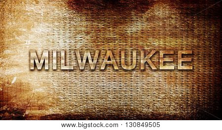 milwaukee, 3D rendering, text on a metal background
