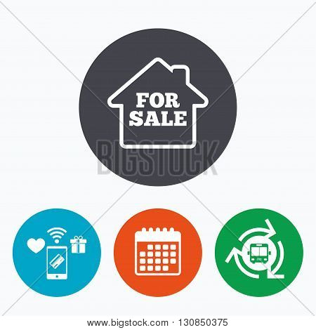 For sale sign icon. Real estate selling. Mobile payments, calendar and wifi icons. Bus shuttle.