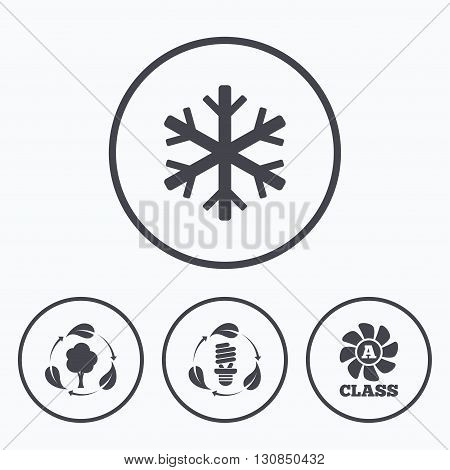 Fresh air icon. Forest tree with leaves sign. Fluorescent energy lamp bulb symbol. A-class ventilation. Air conditioning symbol. Icons in circles.