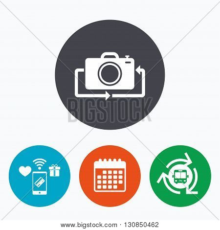 Front photo camera sign icon. Digital photo camera symbol. Change front to back. Mobile payments, calendar and wifi icons. Bus shuttle.