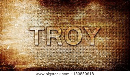 troy, 3D rendering, text on a metal background