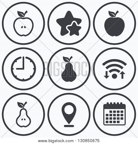 Clock, wifi and stars icons. Fruits with leaf icons. Apple and Pear with seeds signs. Natural food symbol. Calendar symbol.