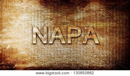 napa, 3D rendering, text on a metal background