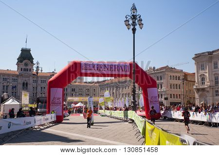 TRIESTE ITALY - MAY 08: Finish line of the Bavisela half marathon in Trieste on May 08 2016