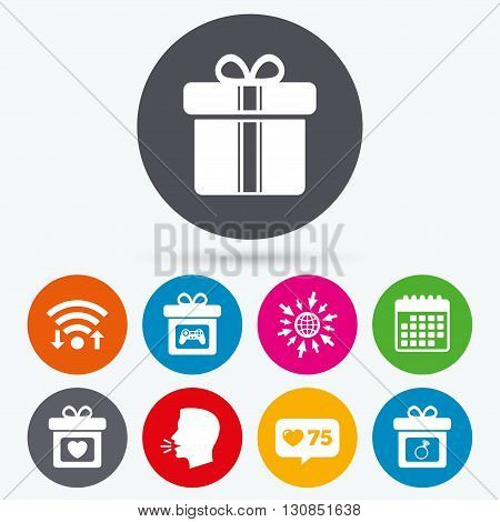 Wifi, like counter and calendar icons. Gift box sign icons. Present with bow and ribbons symbols. Engagement ring sign. Video game joystick. Human talk, go to web.