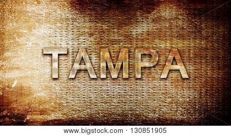 tampa, 3D rendering, text on a metal background