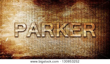 parker, 3D rendering, text on a metal background