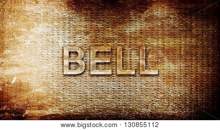 bell, 3D rendering, text on a metal background