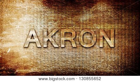 akron, 3D rendering, text on a metal background