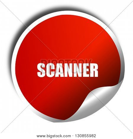 scanner, 3D rendering, red sticker with white text