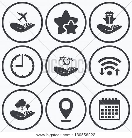 Clock, wifi and stars icons. Helping hands icons. Travel flight or shipping insurance symbol. Palm tree sign. Save nature forest. Calendar symbol.