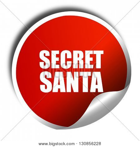secret santa, 3D rendering, red sticker with white text