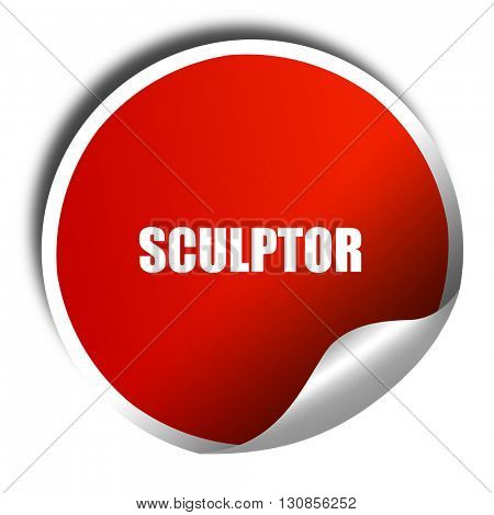 sculptor, 3D rendering, red sticker with white text