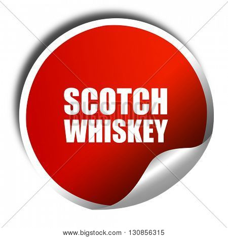 scotch whiskey, 3D rendering, red sticker with white text