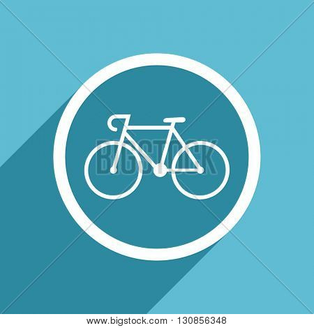 bicycle icon, flat design blue icon, web and mobile app design illustration