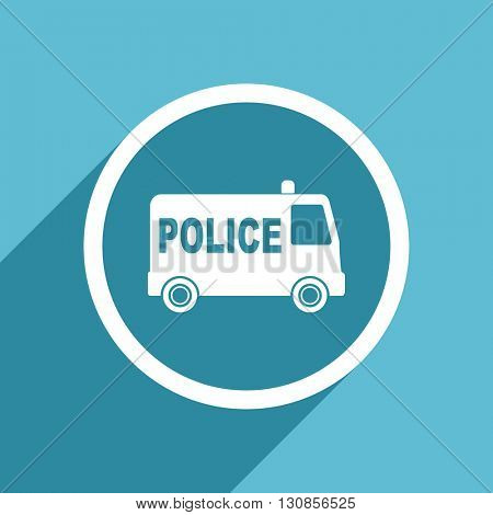 police icon, flat design blue icon, web and mobile app design illustration