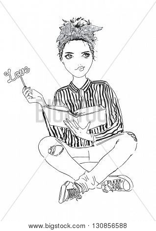 fashion girl read a book illustration