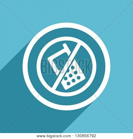 no phone icon, flat design blue icon, web and mobile app design illustration