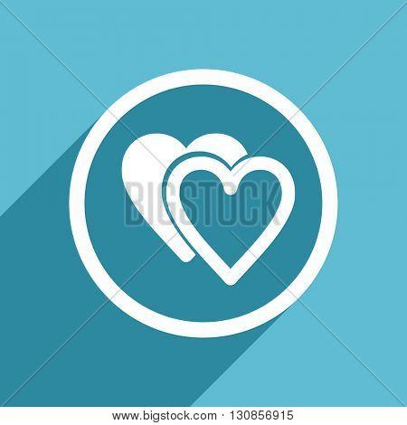love icon, flat design blue icon, web and mobile app design illustration