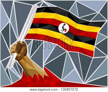 Powerful Hand Raising The Flag Of Uganda