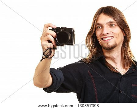 Man Taking Photo Picture With Camera.