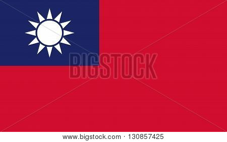 Taiwan flag image for any design in simple style