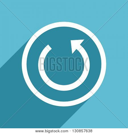 rotate icon, flat design blue icon, web and mobile app design illustration