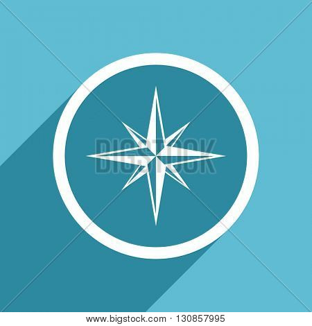 compass icon, flat design blue icon, web and mobile app design illustration
