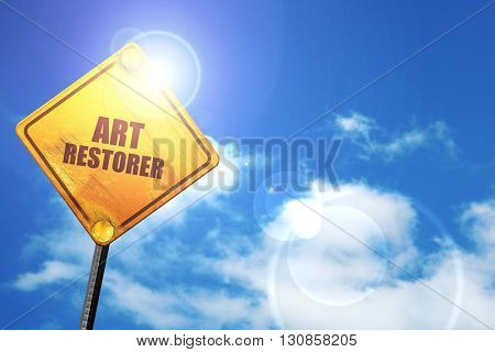 art restorer, 3D rendering, a yellow road sign