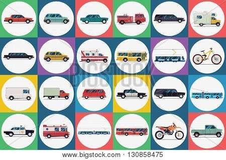 City transport set. taxi bus subway train car bike moped motorcycle truck ambulance. Vector flat illustrations