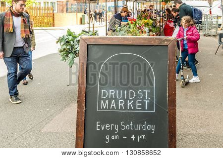 London United Kingdom - April 30 2016: Druid Street market in Bermondsey (located in railway arches). Great artisan street food stalls and bars. Market sign