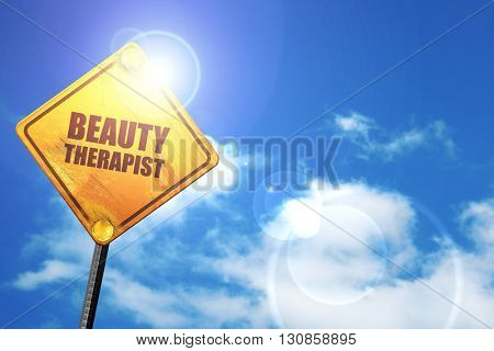beauty therapist, 3D rendering, a yellow road sign