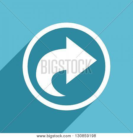 next icon, flat design blue icon, web and mobile app design illustration