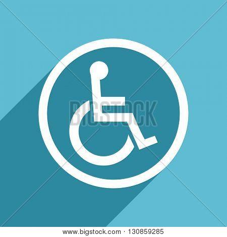 wheelchair icon, flat design blue icon, web and mobile app design illustration