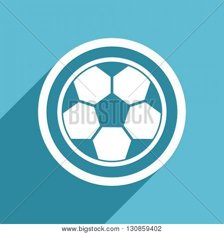 soccer icon, flat design blue icon, web and mobile app design illustration