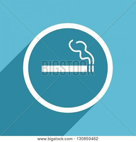 cigarette icon, flat design blue icon, web and mobile app design illustration