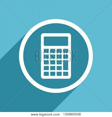 calculator icon, flat design blue icon, web and mobile app design illustration