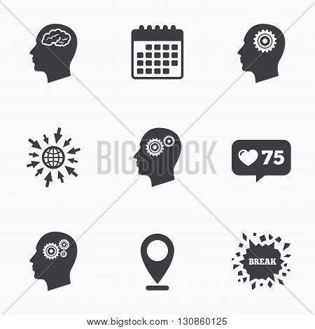 Calendar, like counter and go to web icons. Head with brain icon. Male human think symbols. Cogwheel gears signs. Location pointer.