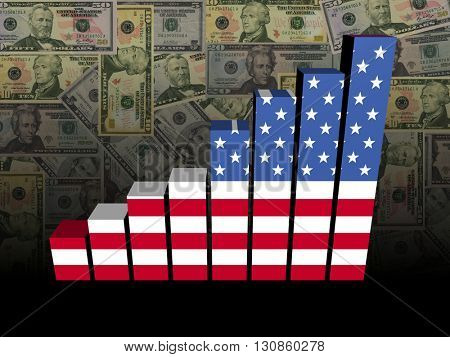 American flag bar chart over dollars 3d illustration