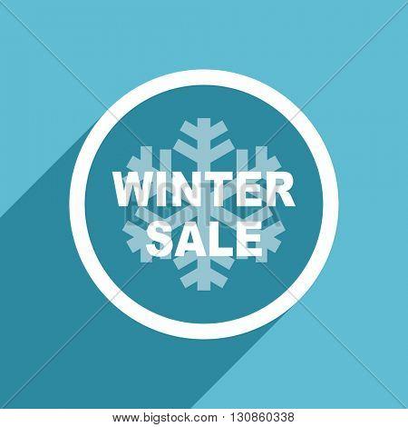 winter sale icon, flat design blue icon, web and mobile app design illustration