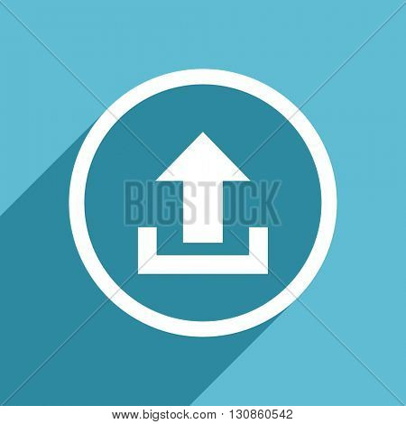 upload icon, flat design blue icon, web and mobile app design illustration