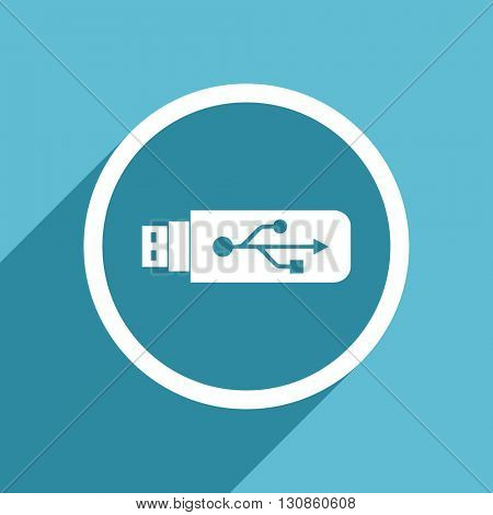 usb icon, flat design blue icon, web and mobile app design illustration