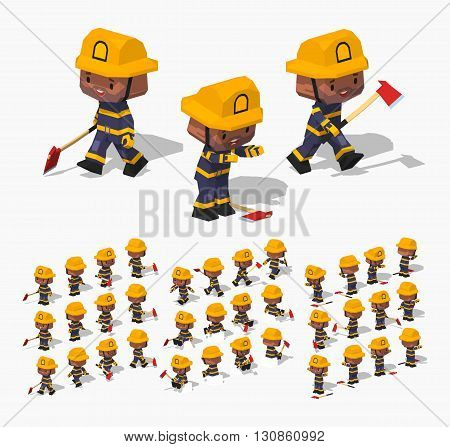 Firefighter. 3D lowpoly isometric vector illustration. The set of objects isolated against the white background and shown from different sides