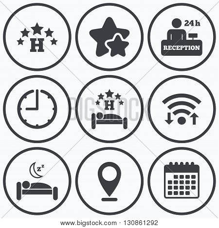 Clock, wifi and stars icons. Five stars hotel icons. Travel rest place symbols. Human sleep in bed sign. Hotel 24 hours registration or reception. Calendar symbol.