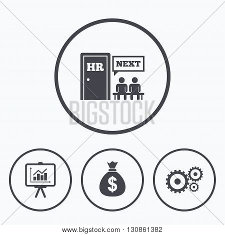 Human resources icons. Presentation board with charts signs. Money bag and gear symbols. Man at the door. Icons in circles.