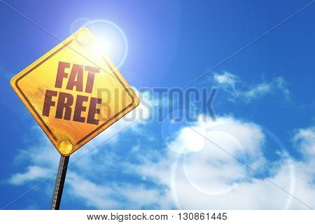 fat free, 3D rendering, a yellow road sign